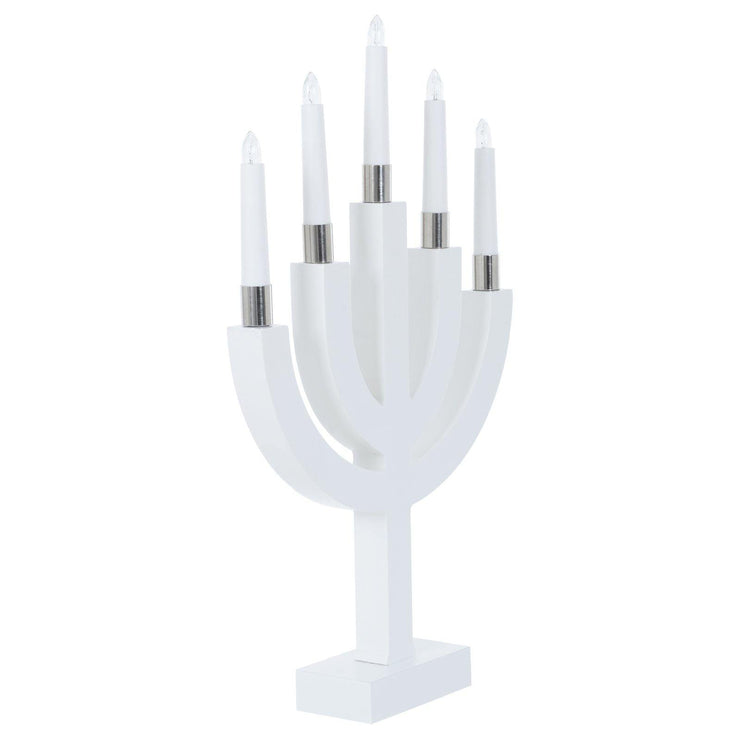 mains power candle bridge lamp white base with white candles shown un-lit on a white background side view