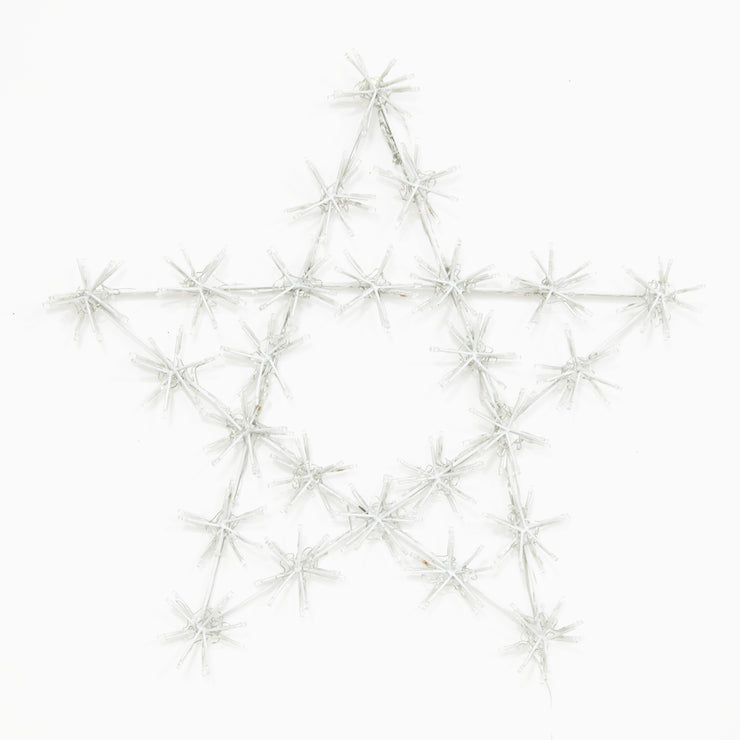 front view of christmas star light with light clusters