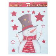 snowman and stars christmas window decoration stickers