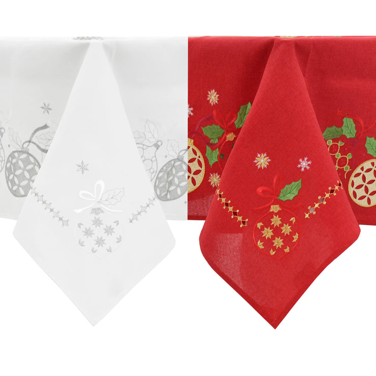 christmas baubles tablecloth and napkins available in red or white finish