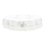 "70"" round white tablecloth with solver christmas bauble details"