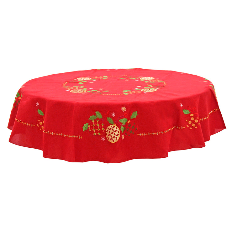 "70"" round red tablecloth with gold and green christmas bauble details"