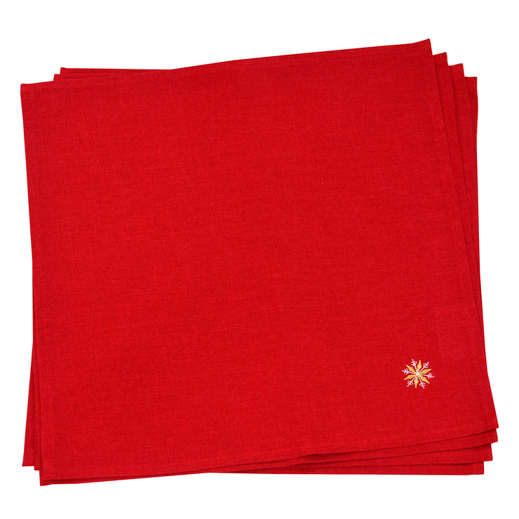 4 red napkin set with gold and silver snowflake embroidered on the corner