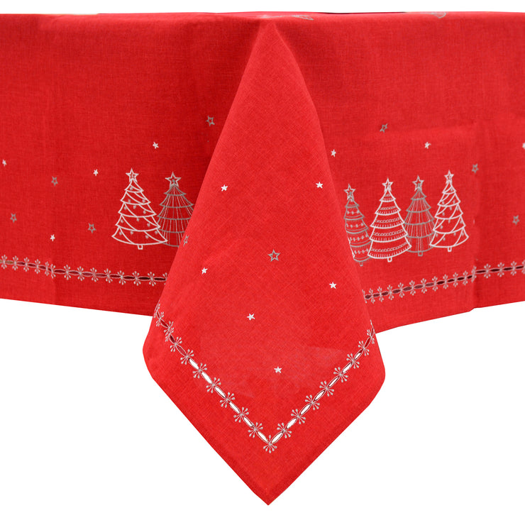 red christmas tablecloth with embroidered silver and grey christmas tree and stars design