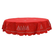 "70"" round red tablecover"