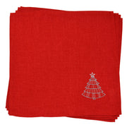 set of 4 red napkins with silver and grey christmas tree embroidered in the corner