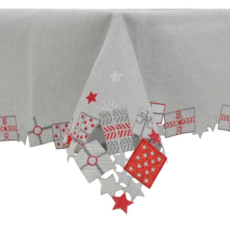 luxury grey christmas table cover with embroidered christmas gift design