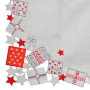 close up detail of red and silver embroidered gift design with stars