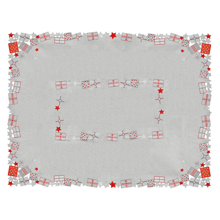 top view of luxury grey table cover with red and grey embroidered gift design