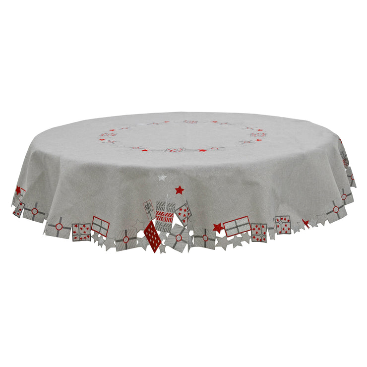 "70"" round luxury grey tablecover"