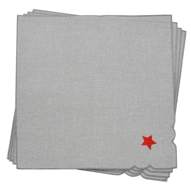 set of 4 luxury napkins finished in grey with a dark grey edging and an embroidered red star in the corner