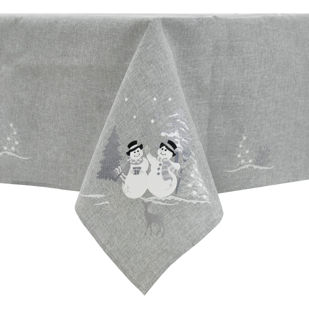 Mr Crimbo Snowmen Christmas Tablecloth Napkins Grey Fabric