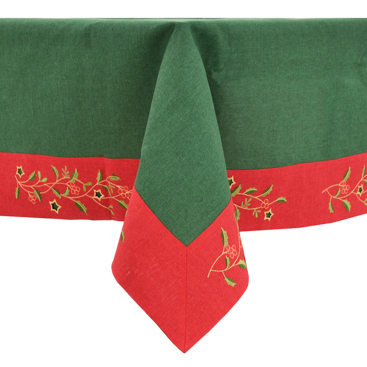 christmas holly and berry leaves tablecloth with red green and gold colours