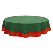 "70"" round green table cloth with red trim featuring embroidered holly and berry leave design"