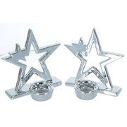 Mr Crimbo Set of 2 Silver Star Christmas Tealight Candle Holders