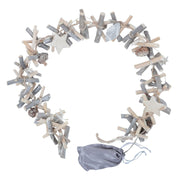 Mr Crimbo 1m Light Up Wooden Garland Silver Twigs Cones Stars