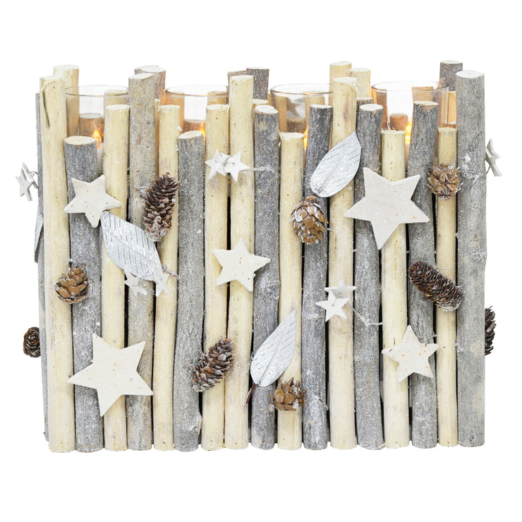Mr Crimbo Large Silver Twigs Christmas Tealight Candle Holder