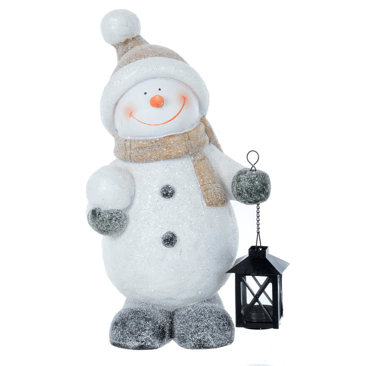 Mr Crimbo Santa Snowman With Black Lantern Ornament 43cm