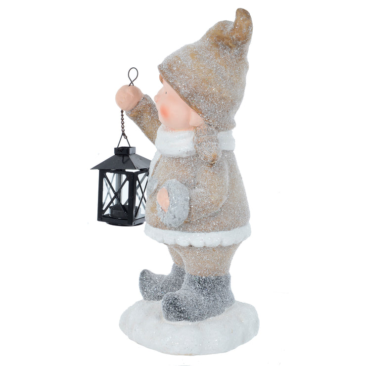 Mr Crimbo Girl Boy With Black Lantern Figure Ornament 41cm