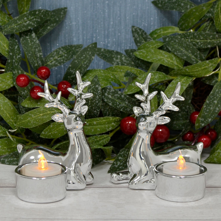 Mr Crimbo Set of 2 Silver Reindeer Tealight Candle Holders