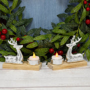Mr Crimbo Set of 2 Silver Reindeer Candle Holders Wood Base