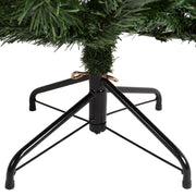close up of christmas tree stand with tree inserted