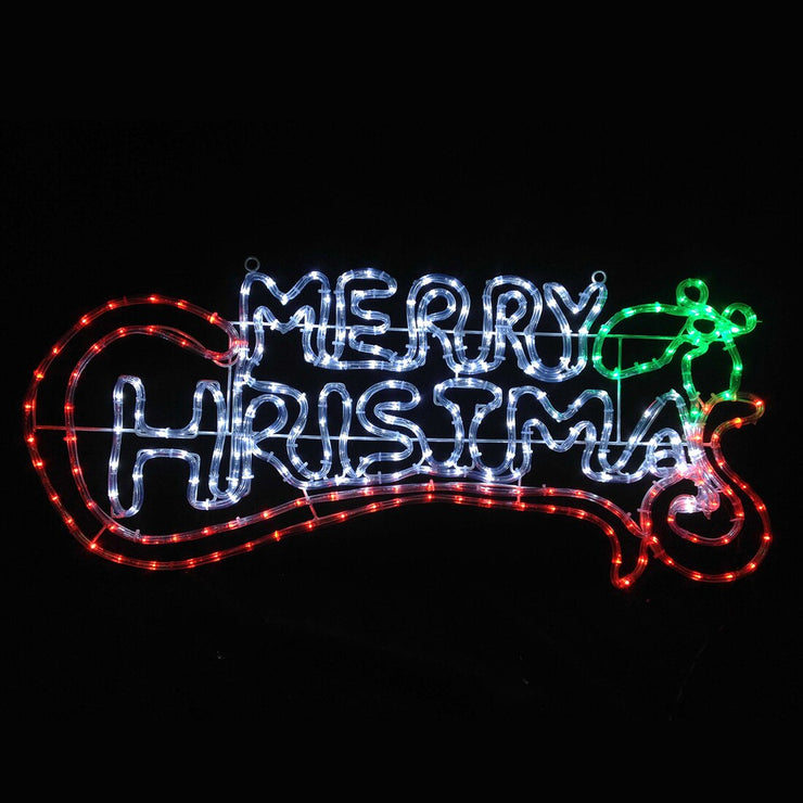 Mr Crimbo Chasing Red/Green/White LED Merry Christmas Indoor/Outdoor Rope Light Wall Sign