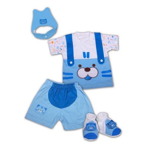 Baby Newborn Clothes Gift Set with Blue Cat Design