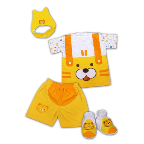 Baby Newborn Clothes Gift Set with Yellow Cat Design