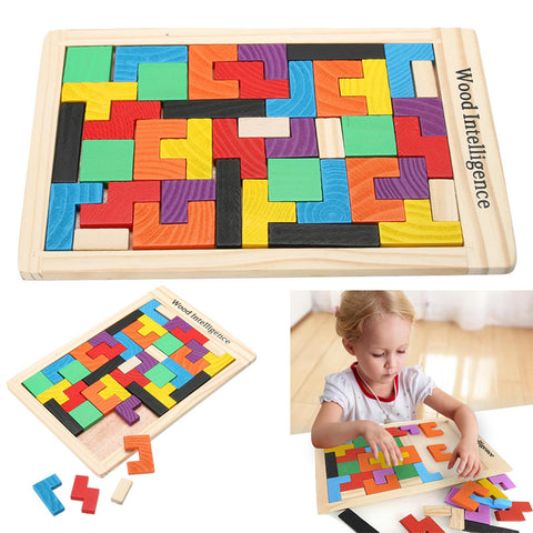 Children playing tetris wood puzzle