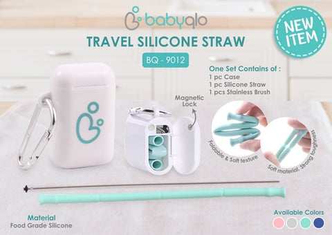 Foldable Reusable Silicone Straw with Portable Travel Case