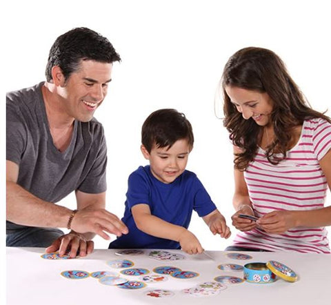 family playing spot it game