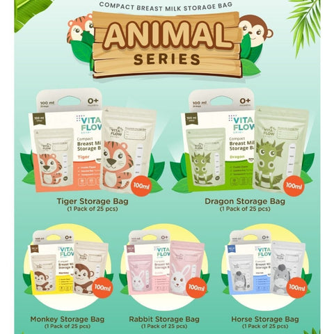 Breastmilk Storage Bags 100ml Animal Series