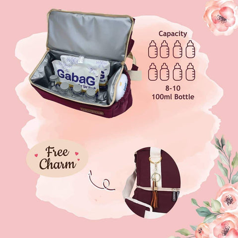 Image of Gabag Rose Cooler Bag Large Compartment for breastmilk