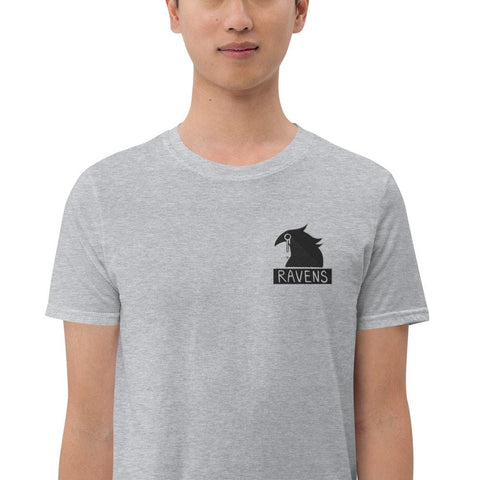 Ravens Embroidery Unisex T-Shirt (White, Grey)
