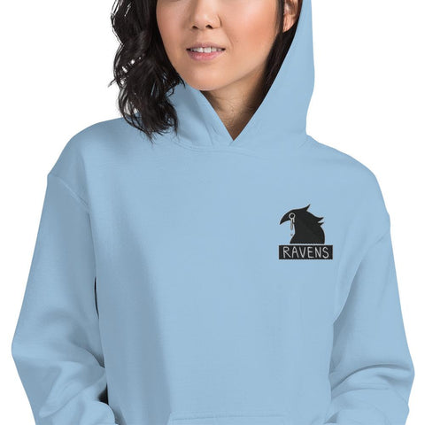 Image of Ravens Embroidery Unisex Hoodie (White, Light Blue, Pink)