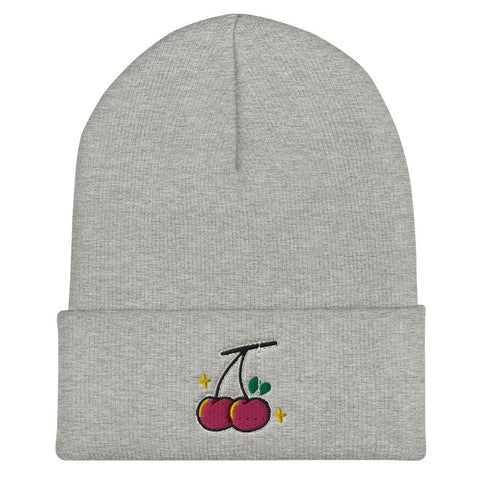 Image of Red Cherry Cuffed Beanie