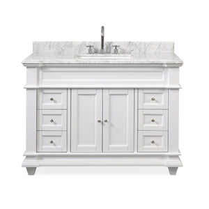 "48"" Italian Carrara Marble Top Kerianne Bathroom sink vanity cabinet - ZK-1084 (Carrara/White)"