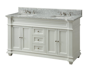 "60"" Italian Carrara Marble Double Sink Kendall Bathroom Sink Vanity HF-1085 - Chans Furniture - 3"