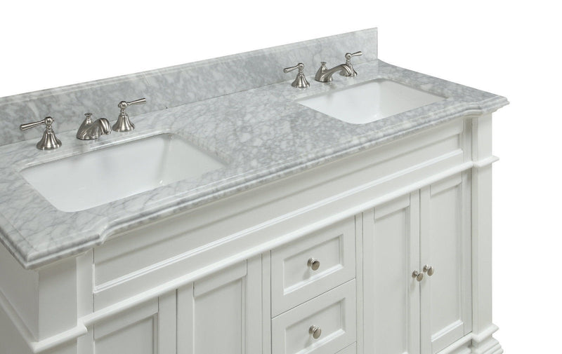 "60"" Italian Carrara Marble Double Sink Kendall Bathroom Sink Vanity HF-1085 - Chans Furniture - 4"