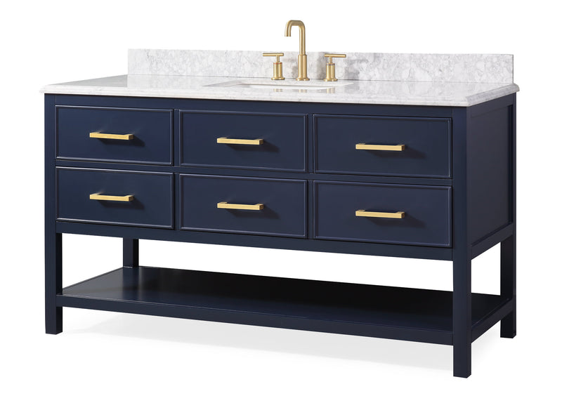 "60""  Tennant Brand Italian Carrara Navy Blue Color Finish Single Sink Vanity - Aruzza  # 2822-S60NB"