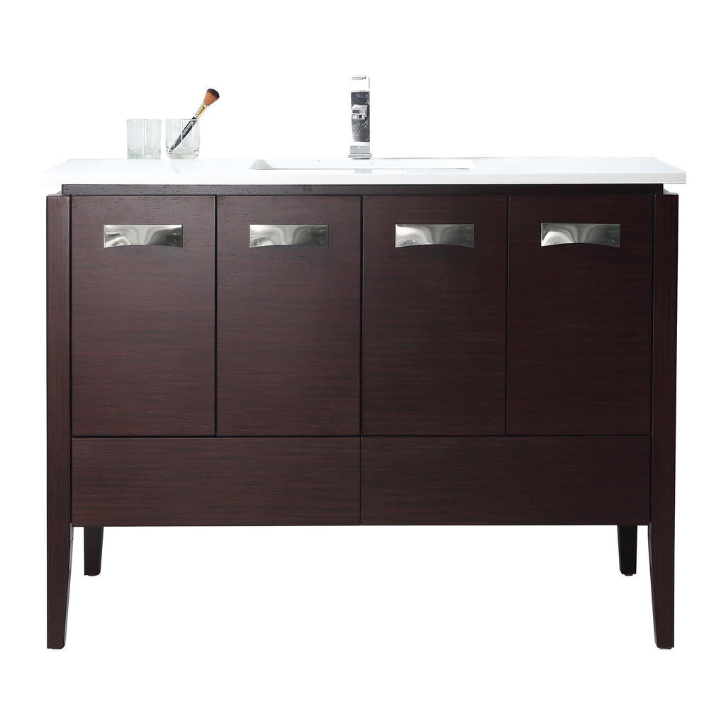 "48"" Tennant Brand Adagio Wenge Finish Bathroom Sink Vanity - CL-409WE48-QT"