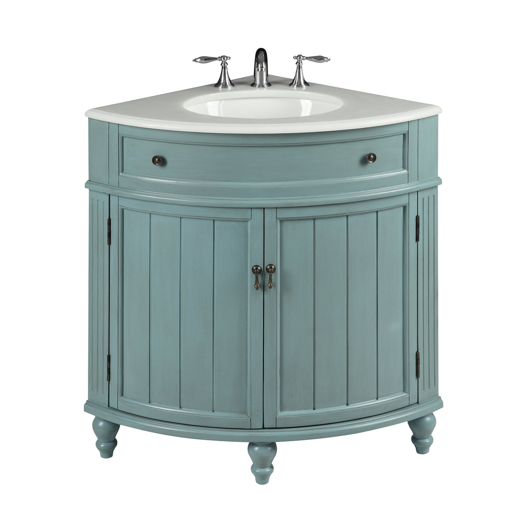 "24"" Benton Collection Light Blue Thomasville Corner bathroom sink Vanity GD-47544BU"