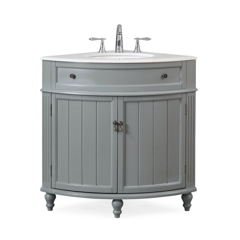 "24"" Benton Collection Thomasville Gray Framhouse Corner Bathroom Vanity ZK-47566CK"
