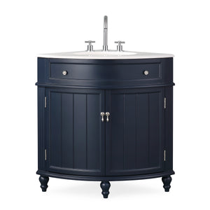 "24"" Benton Collection Thomasville Navy Blue Corner Bathroom Vanity ZK-47588NB"