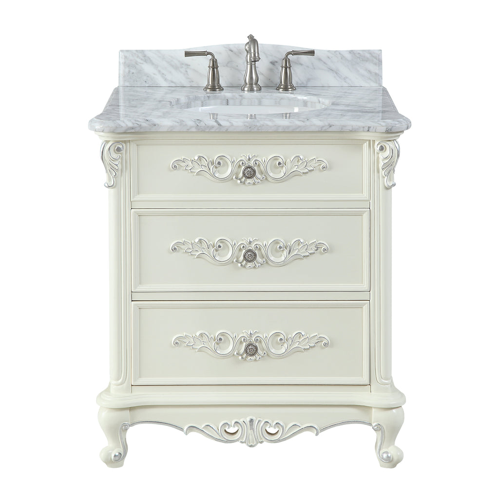 "32"" Benton Collection Verondia Antique Style Vanilla Beige Bathroom Vanity CF-5300-32"