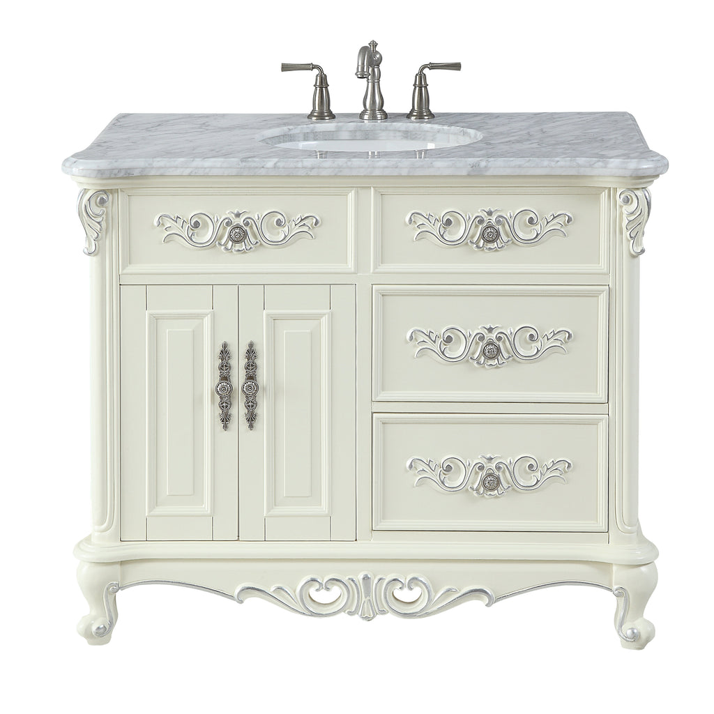 "42"" Benton Collection Verondia Antique Style Vanilla Beige Bathroom Vanity CF-5332-42"