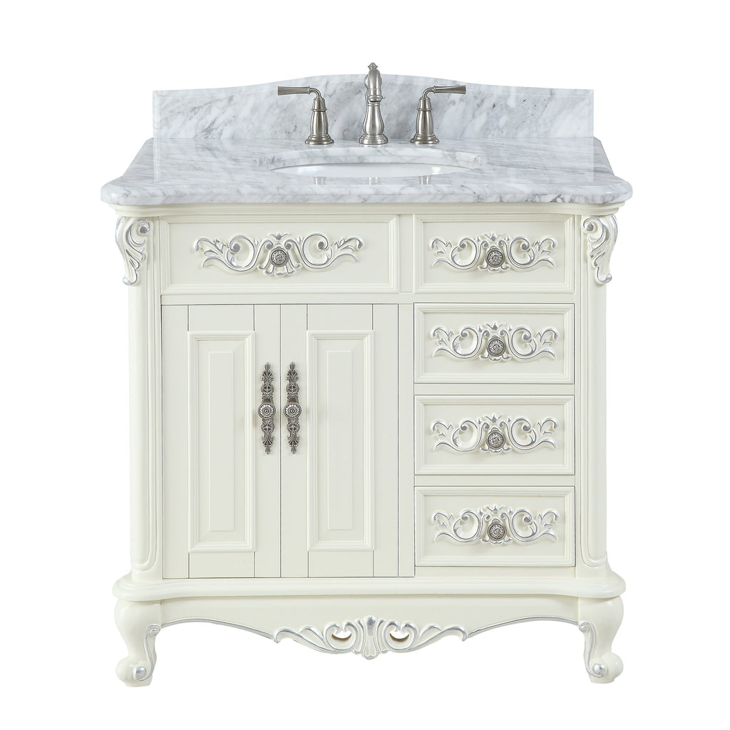 "36"" Benton Collection Verondia Antique Style White Bathroom Vanity CF-5336-36"