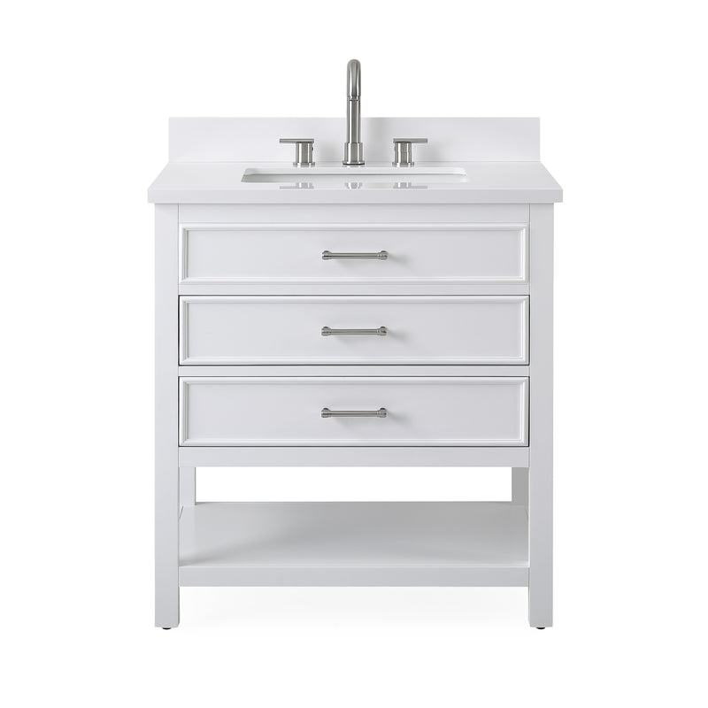 "30""  Tennant Brand White Finish Single Sink Bathroom Vanity - Felton  SKU # 7206-W30"