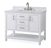 "42""  Tennant Brand White Color Finish Single Sink Bathroom Vanity - Felton  SKU # 7220-W42"